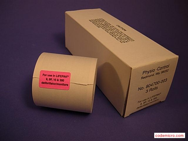 Box Of Chart Paper: Date Of Mfr.:na3 Rolls Per Box.for Use In Lifepak 9, 9p, 10 And 300 Defibrillator/monitors